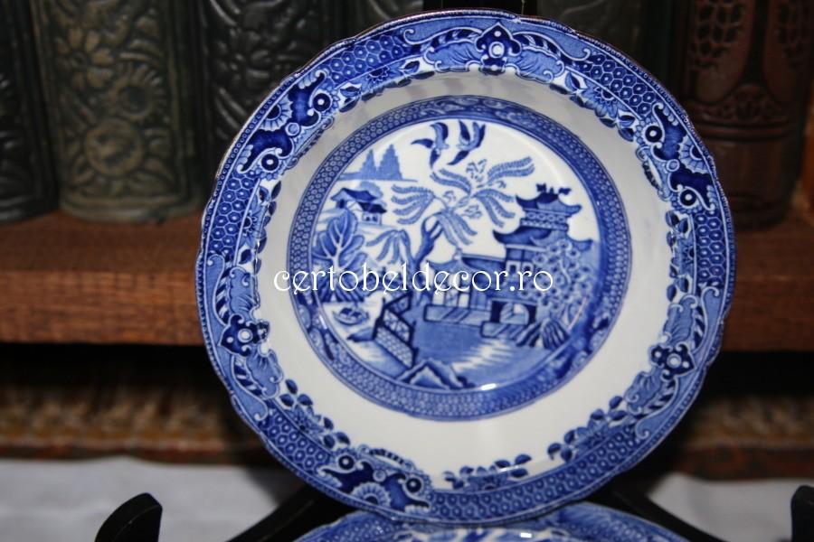 antique porcelain plate set Burslem Willow /England | Certobeldecor